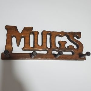 Vintage Wooden Mugs Wall Holder Coffee Cup